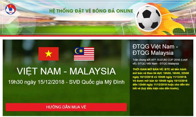 Giao diện của các trang bán vé online giả mạo y hệt trang chính thức VFF