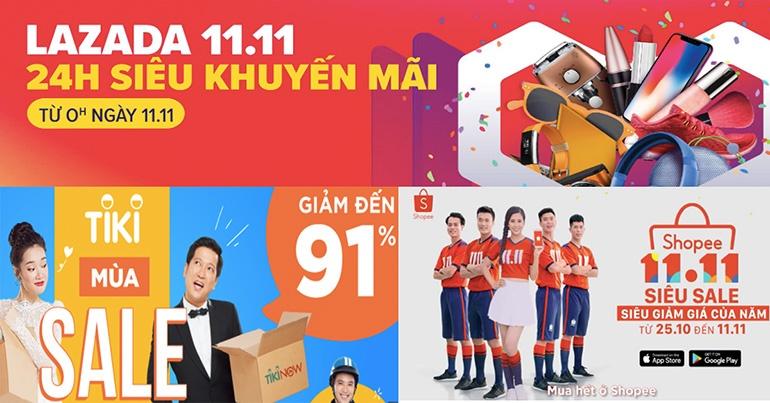 Các trang thương mại điện tử Viêt Nam đồng loạt tung ra khuyến mãi siêu khủng ngày 11/11